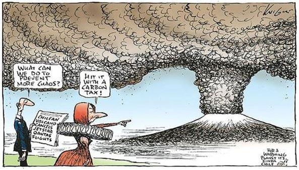 Cartoon volcano produces Carbon like coal