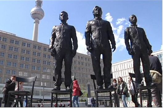 Statues of whistleblowers Snowden Assange and Manning